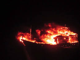 Pak Boat ablaze