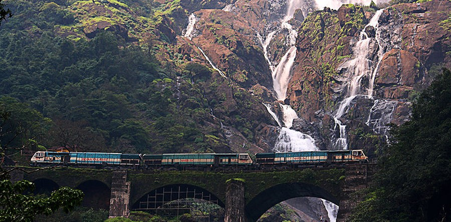 The milky white Dudhsagar Waterfalls in the tropical paradise of Goa