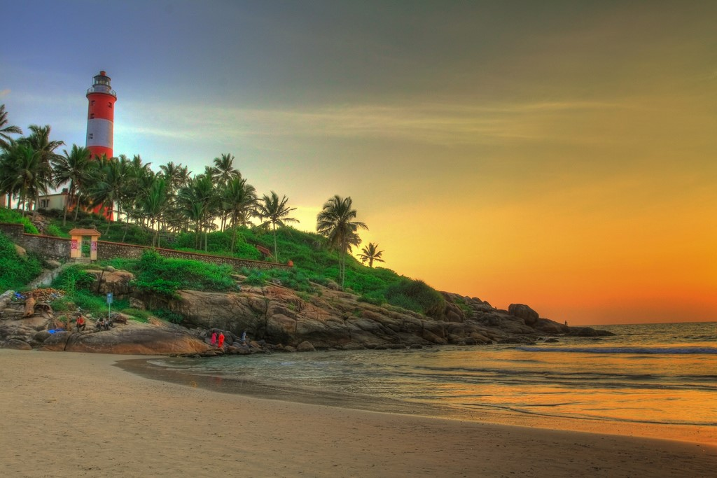 Spectacular sunset at the Beach in Kanyakumari